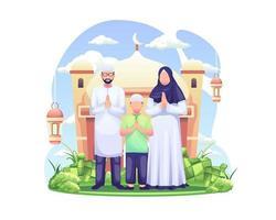 Saudação eid mubarak e saudação do ramadã com uma família muçulmana vetor