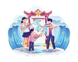 pessoas jogando arma de água no festival Songkran, tradicional dia de ano novo na Tailândia vetor