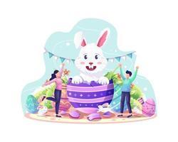 feliz celebração do dia de páscoa com um casal dando as boas-vindas ao fofo coelho saindo do ovo da páscoa vetor