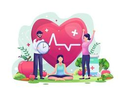 conceito de ilustração do dia mundial da saúde com personagens que as pessoas estão se exercitando, ioga, vivendo de forma saudável vetor
