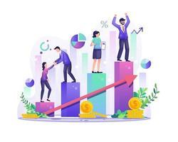 conceito de sucesso empresarial, os empresários escalam o gráfico de barras coluna por coluna para obter sua ilustração de sucesso vetor