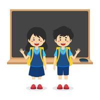 desenho animado de crianças de volta ao fundo da escola vetor