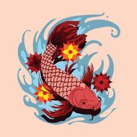 Tatuagem de peixe dourado vetor