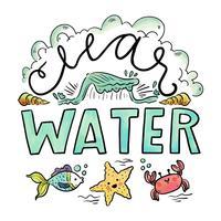 Praia de Clearwater com letras e animais marinhos