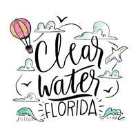 Aquarela ilustração com ondas sobre a praia de Clearwater vetor