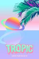 Saturno neon e folhas de palmeira. fundo surreal de praia tropical