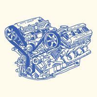 Desenho de motor de carro vetor