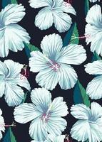 hibisco sem costura padrão desenhado à mão