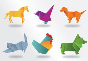 Pacote de vetores de animais de origami