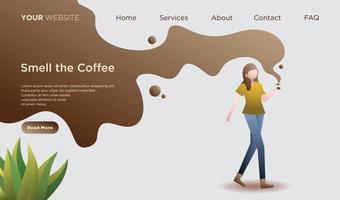 página de destino com uma garota segurando um copo de café vetor
