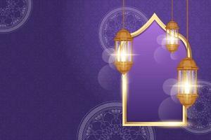 cartão comemorativo ramadan kareem decorado com lanternas árabes vetor