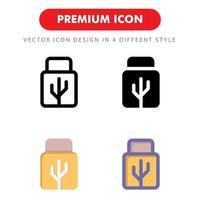 pacote de ícones de unidade flash USB isolado no fundo branco. para o design do seu site, logotipo, aplicativo, interface do usuário. ilustração de gráficos vetoriais e curso editável. eps 10. vetor