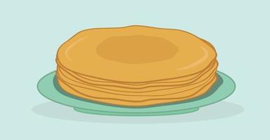 pilha fina de panquecas em um prato. entrudo. maslenitsa. ilustração vetorial plana vetor