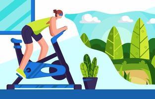 pedalando em casa com tecnologia vr vetor