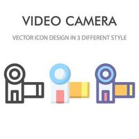 pacote de ícones de câmera de vídeo isolado no fundo branco. para o design do seu site, logotipo, aplicativo, interface do usuário. ilustração de gráficos vetoriais e curso editável. eps 10. vetor