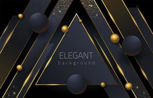 elegante triângulo preto e dourado e fundo esférico vetor