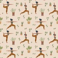 fundo de ioga. meninas fazem pilates e meditação. padrão com pessoas em diferentes poses. padrão de treino ao ar livre para têxteis. vetor