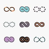 Conjunto de símbolos infinitos delineados vetor
