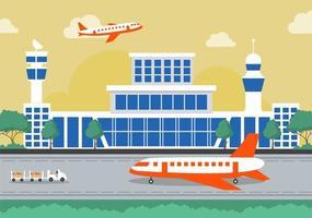 edifício terminal de aeroporto com infográfico decolagem de aeronaves e diferentes tipos de transporte elementos modelos de ilustração vetorial