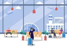 novo normal, ilustração vetorial pessoas com máscaras sentadas no terminal interior do aeroporto, conceito de viagens de negócios. design plano. vetor