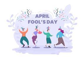 celebração feliz dia dos tolos usando um conceito de design do fundo do chapéu do bobo da corte. ilustração vetorial vetor