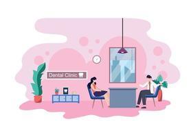 ilustração de cor plana de consultório odontológico. interior do hospital com local de trabalho, equipamentos, instrumentos, consulta, tratamento e diagnóstico vetor