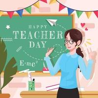 feliz dia do professor com a fofa professora vetor