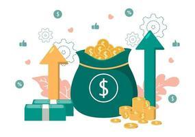 ilustração plana de investimentos para solução de negócios de banner, análise de página da web de vendas, dados de crescimento estatístico, contabilidade, ideias inovadoras e conceito de lucros em dinheiro vetor