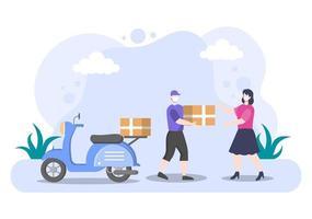 ilustração plana de entrega online para rastreamento de pedidos, serviço de correio, envio de mercadorias, logística urbana usando um caminhão ou motocicleta vetor