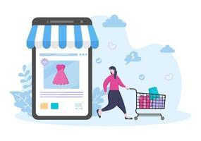 design plano de compras on-line para página de destino do site, elementos de marketing ou ilustração de comércio eletrônico, banner da web e pagamento digital vetor