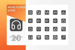 pacote de ícones de player de música isolado no fundo branco. para o design do seu site, logotipo, aplicativo, interface do usuário. ilustração de gráficos vetoriais e curso editável. eps 10. vetor