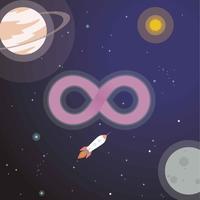 Logotipo do infinito com ilustração do espaço vetor