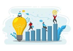 ilustração plana de inicialização do processo de desenvolvimento de negócios, produto de inovação e ideia criativa.