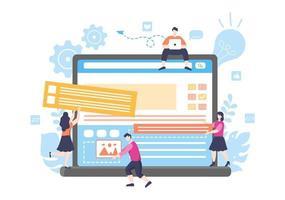 ilustrações planas de desenvolvimento web para sites, programação, materiais de marketing, apresentações de negócios, publicidade online e aplicativos móveis vetor
