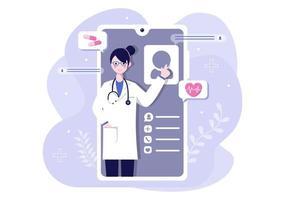 cuidados de saúde on-line e conceito médico de ilustração vetorial de médico, consulta de medicamento e tratamento por meio de aplicativo de smartphone ou clínica de internet conectada a computador vetor