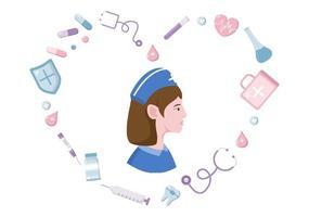 ícones de equipamentos médicos e de saúde em forma de pacote de ilustração de coração em agradecimento a todos os assistentes médicos por lutarem contra o coronavírus e salvarem muitas vidas