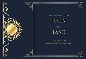 convite de casamento de luxo azul e dourado vetor