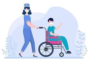 médico ou enfermeiro em máscara facial ajudando um paciente, o enfermeiro empurra a cadeira de rodas com homem deficiente. concentração de pessoal médico