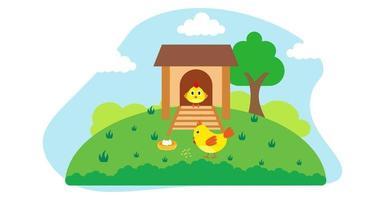 ilustração em vetor bonito dos desenhos animados de frango e prado rural de fazenda
