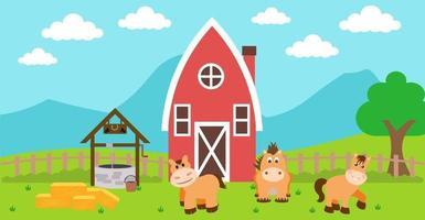 ilustração em vetor bonito dos desenhos animados de cavalo e prado rural de fazenda