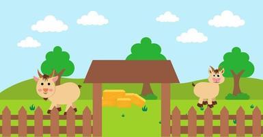 ilustração em vetor desenho bonito de cabra e prado rural de fazenda