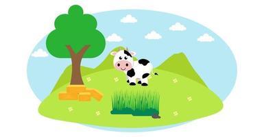 ilustração em vetor bonito dos desenhos animados de vaca e prado rural