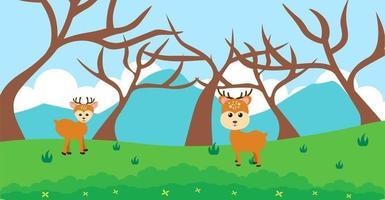 veado vector animais fofos em estilo cartoon, animal selvagem, projetos para roupas de bebê. personagens desenhados à mão