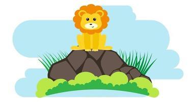 animais fofos de vetor de leão em estilo cartoon, animal selvagem, projetos para roupas de bebê. personagens desenhados à mão