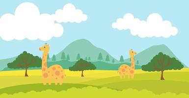 girafa vetor animais fofos em estilo cartoon, animal selvagem, projetos para roupas de bebê. personagens desenhados à mão