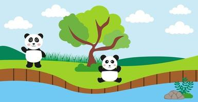 animais fofos de vetor de panda em estilo cartoon, animal selvagem, designs para roupas de bebê. personagens desenhados à mão