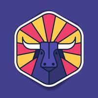Modelo de etiqueta do emblema de cabeça de touro vetor