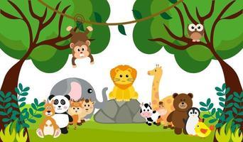 animais fofos da selva de vetor em estilo cartoon, animal selvagem, designs de zoológico para plano de fundo, roupas de bebê. personagens desenhados à mão