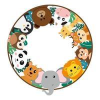 animais bonitos da selva de vetor em estilo cartoon, animal selvagem, designs de zoológico para plano de fundo, roupas de bebê. personagens desenhados à mão