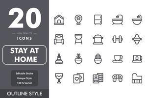 ficar em casa pacote de ícones isolado no fundo branco. para o design do seu site, logotipo, aplicativo, interface do usuário. ilustração de gráficos vetoriais e curso editável. eps 10. vetor